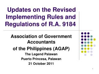 Updates on the Revised Implementing Rules and Regulations of R.A. 9184