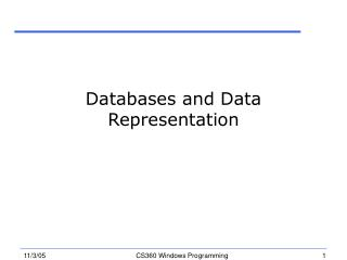 Databases and Data Representation
