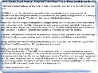 'AmeriQuest Road Rescue' Program Offers Free Trial of Fleet