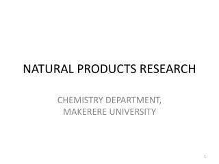 NATURAL PRODUCTS RESEARCH