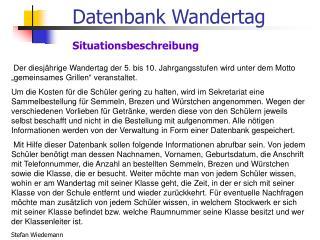 Datenbank Wandertag