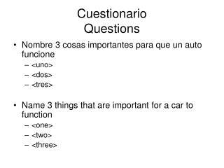 Cuestionario Questions