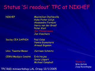 Status 'Si readout' TPC at NIKHEF