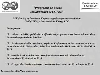 """""""Programa de Becas Estudiantiles SPEA-PAE"""""""
