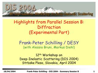 Highlights from Parallel Session B: Diffraction (Experimental Part) Frank-Peter Schilling / DESY