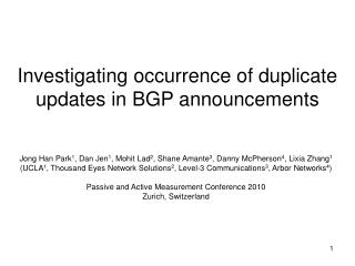 Investigating occurrence of duplicate updates in BGP announcements