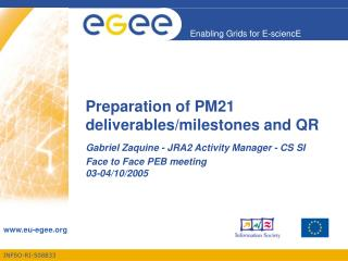 Preparation of PM21 deliverables/milestones and QR