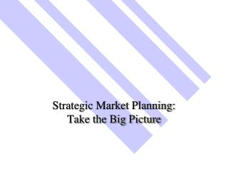 Strategic Market Planning:   Take the Big Picture