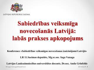 Sabiedrības veiksmīga novecošanās Latvijā: labās prakses apkopojums