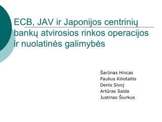 ECB, JAV ir Japonijos centrinių bankų atvirosios rinkos operacijos ir nuolatinės galimybės