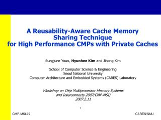 A Reusability-Aware Cache Memory  Sharing Technique  for High Performance CMPs with Private Caches