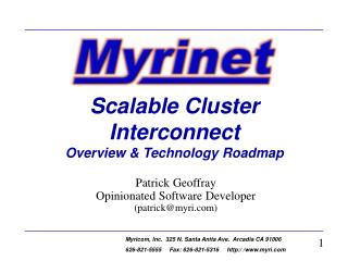 Scalable Cluster Interconnect Overview  Technology Roadmap