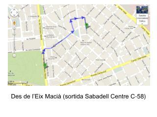 Des de l'Eix Macià (sortida Sabadell Centre C-58)