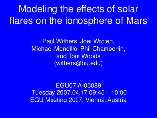 Modeling the effects of solar flares on the ionosphere of Mars