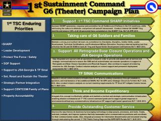 Sustainment Command  G6 (Theater ) Campaign Plan