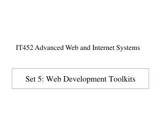 Set 5: Web Development Toolkits