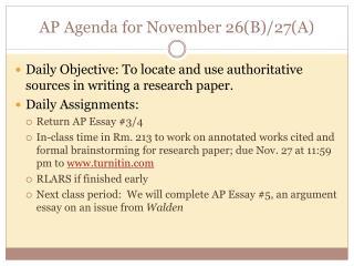 AP Agenda for November 26(B)/27(A)