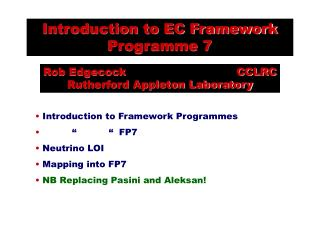 Introduction to EC Framework Programme 7
