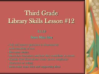 Third Grade Library Skills Lesson #12