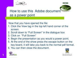How to use this  Adobe document as a power point