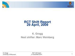RCT Shift Report 29 April, 2009