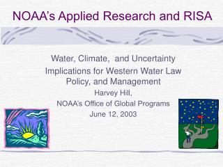 NOAA's Applied Research and RISA