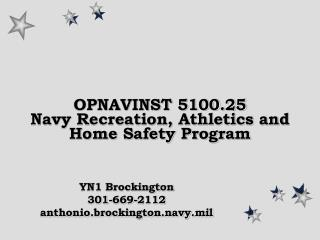 OPNAVINST 5100.25 Navy Recreation, Athletics and Home Safety Program