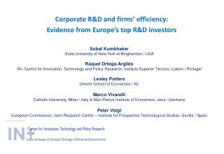 Corporate  R&D  and  firms�  efficiency:  Evidence from Europe�s top R&D investors
