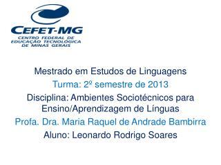 Mestrado em Estudos de Linguagens Turma: 2º semestre de 2013
