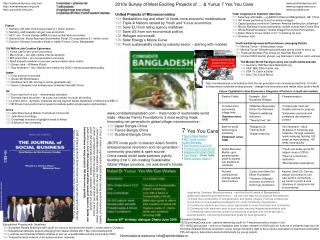 2010s Survey of Most Exciting Projects of � & Yunus 7 Yes You Cans