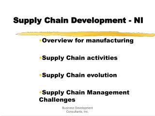 Supply Chain Development - NI