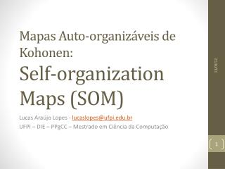 Mapas  Auto- organizáveis  de  Kohonen : Self-organization Maps (SOM)