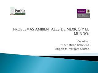 PROBLEMAS AMBIENTALES DE MÉXICO Y EL MUNDO: Coordina:   Esther Mirón Balbuena