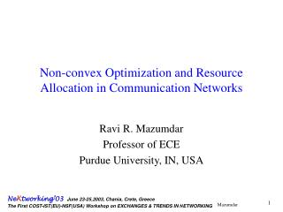 Non-convex Optimization and Resource Allocation in Communication Networks