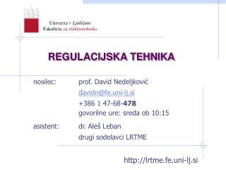 REGULACIJSKA TEHNIKA