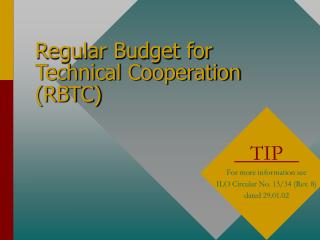 Regular Budget for Technical Cooperation (RBTC)