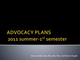 ADVOCACY PLANS  2011 summer-1 st  semester