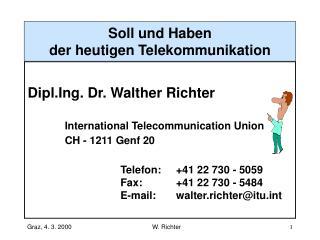 Soll und Haben der heutigen Telekommunikation