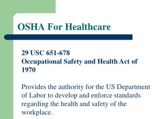 OSHA For Healthcare