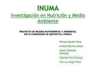 INUMA Investigación en Nutrición y Medio Ambiente