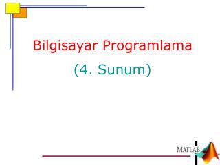 Bilgisayar Programlama ( 4.  Sunum )