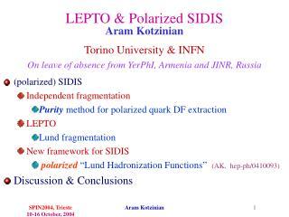 LEPTO & Polarized SIDIS