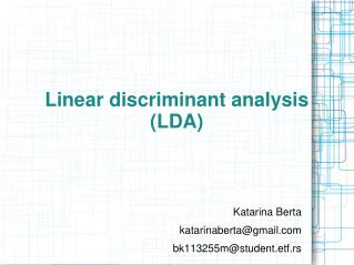 L i near discriminant analysis (LDA)