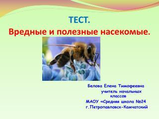 ТЕСТ. Вредные и полезные насекомые .