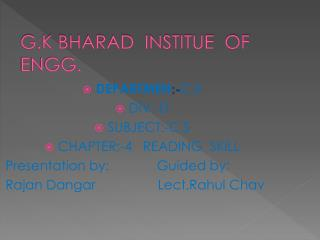 G.K BHARAD  INSTITUE  OF  ENGG.