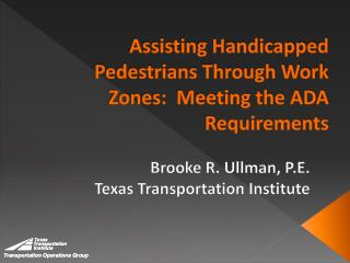 Assisting Handicapped Pedestrians Through Work Zones:  Meeting the ADA Requirements