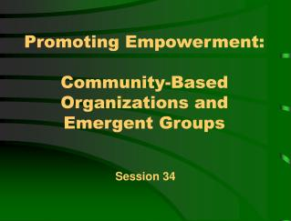 Promoting Empowerment:   Community-Based Organizations and Emergent Groups