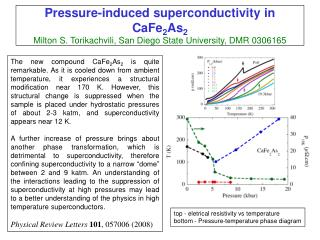 top - eletrical resistivity vs temperature bottom - Pressure-temperature phase diagram
