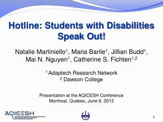 Hotline: Students with Disabilities Speak Out!
