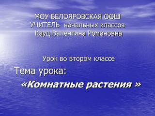 МОУ БЕЛОЯРОВСКАЯ ООШ УЧИТЕЛЬ  начальных классов Кауц  Валентина Романовна